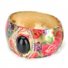 Stylish Flower Pattern Copper Alloy + Rhinestone Bracelet - Multicolored