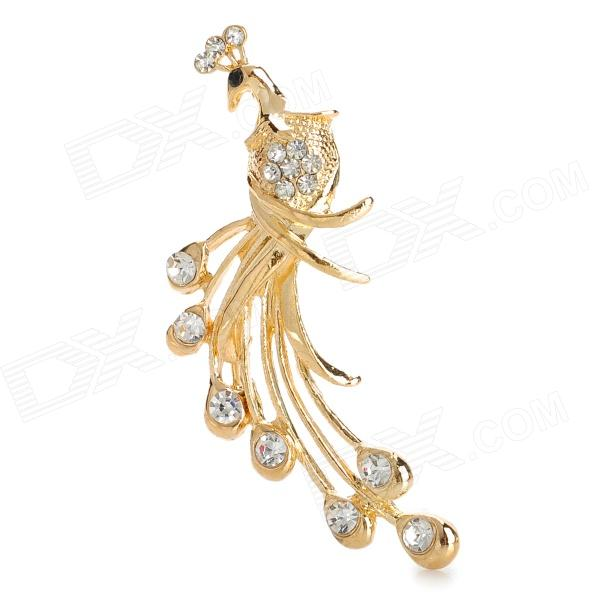 Elegant Alloy + Rhinestone Peafowl Shape Brooch - Golden