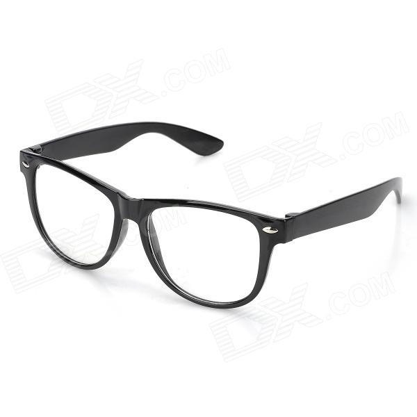 Fashion Unisex Plastic Frame Plain Glasses - Black + TransparentEyeglasses<br>Brandno Quantity1 GenderUnisex Suitable forAdults Frame ColorBlack Lens ColorTransparent Frame MaterialPlasticLens MaterialPlasticLens Height51 mmLens Width55 mmBridge Distance15 mmOverall Width of Frame145 mmTemple Length130 mmPacking List1 x Glassses<br>