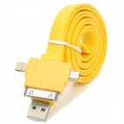 USB to 8-Pin Lightning / 30-Pin / Micro USB Data/Charging Flat Cable for iPhone 5 / Samsung - Yellow