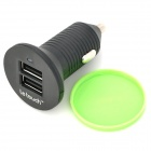 Le Touch Car Cigarette Powered harger w/ Dual USB Output for Iphone / Ipad / Samsung - Black + Green