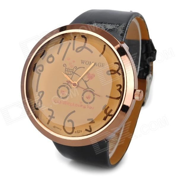 Fashion Bike Pattern Big Dial PU Band Analog Quartz Wrist Watch - Black+ Rose Gold