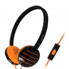 SALAR EM310i Fashion Stereo Headphones Headset w/ Microphone - Black + Orange (3.5mm Plug / 120cm)
