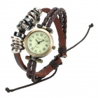 Jing Yi  JY-007 Fashion Skull Ring Decoration PU Band Analog Quartz Wrist Watch - Brown + Bronze