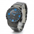 CURREN Tungsten Steel Band Analog Quartz Wrist Watch - Black + Blue