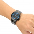 CURREN Tungsten Steel Band Analog Quartz Wrist Watch - Preto + Azul