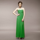 YLY-D232-0550 Sexy Silk Strapless Club Long Dress - Green