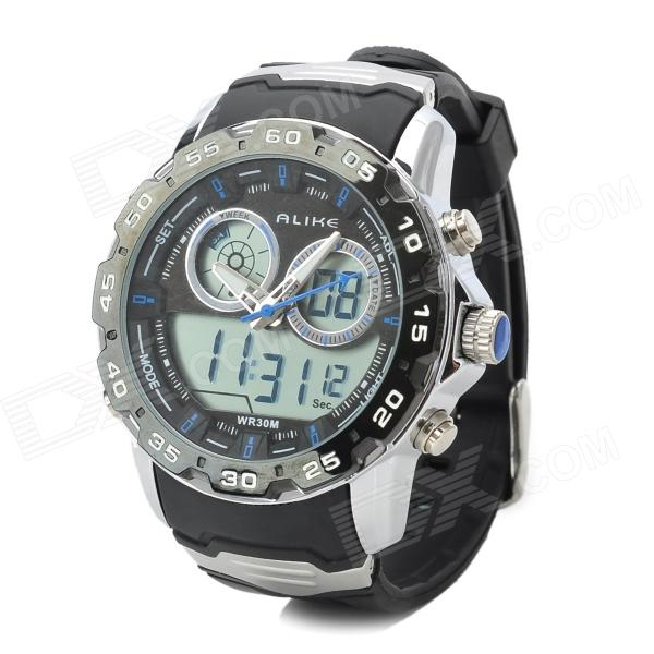 ALIKE AL111 Waterproof Backlit Analogue & Digital Display Quartz Wristwatch (1 x CR2016/1 x SR626SW) alike a1278 waterproof digital quartz sport wristwatch timepiece with rubber band for men blue