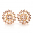 Electroplating Alloy Lotus Pearl Earrings - White + Champagne (2 PCS)