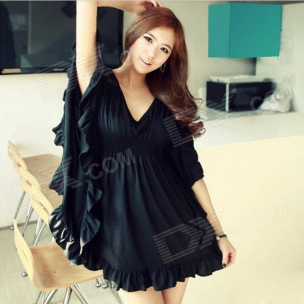 Elegant Batwing Sleeve V Neck Club Dress - Black