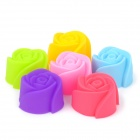 Creative Rose Style Soft Silicone Cake Pudding Biscuit Cookies Mold - Multicolor (6 PCS)