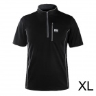 Naturehike-NH Men's Stylish Mandarin Zipper Collar Quick Dry Nylon T-shirt - Black (Size XL)
