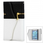 Protective PU Leather + Plastic Flip-open Case w/ Zipper Pocket for Samsung i9500 - White + Black