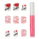 ZX-0521 Shiny Crystal 3D Heart + Butterfly Design Decorative Nail Tip w/ Glue - Multicolor (24 PCS)