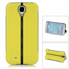 Protective Plastic + Silicone Folding Back Case w/ Stand for Samsung i9500 - Yellowish Green + Black