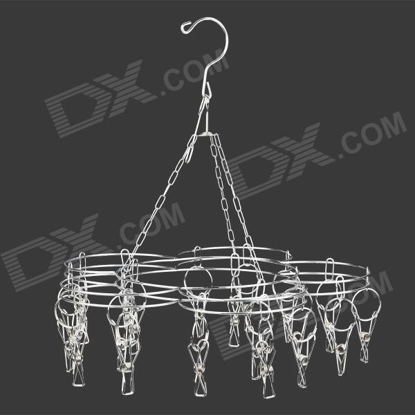 H2WY D-40 Stainless Steel Dual-layer Peg Hanger for Clothes / Socks - Silver (20-clip)