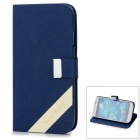 New Baby Cross Pattern Protective PU Leather + Plastic Case for Samsung i9500 - Deep Blue + White