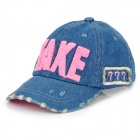 """TAKE"" Pattern Children Kids Jeans Cotton Baseball Cap / Hat - Blue + Red"