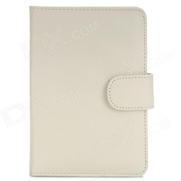 Lychee Pattern Protective PU Leather Case for Amazon Kindle 4 - White