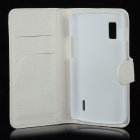 Lychee Pattern Protector PU Leather + PC Flip-open Case pour LG E960 - Blanc