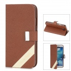 New Baby Cross Pattern Protective PU Leather + Plastic Case for Samsung i9500 - Brown + White