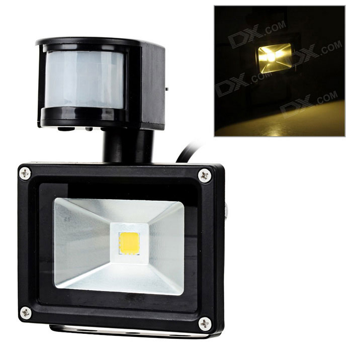 JR-10W-WW-GYTGD 10W 800lm 3300K LED chaud Induction White Light Project Lamp - Noir (90 ~ 264V)