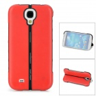 Protective Plastic + Silicone Folding Back Case w/ Stand for Samsung i9500 - Red + Black