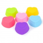 Heart Shaped Soft Silicone Biscuit Cookies Cake Mold - Multicolor (6 PCS)