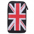The UK Flag Pattern Protective Nylon Bag w/ Caribiner for Samsung i9500 + More - Red + White + Black