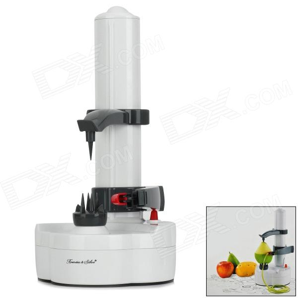 Rosenstein&amp;Sohne NC3447 Electric Peeler Machine - White + Grey + Red - DXLifestyle Gadgets<br>Brand Rosenstein&amp;Sohne Model NC3447 Quantity 1 piece(s) per pack Color White + Grey + Red Material Plastic + stainless steel blade Specification Automatic master the thickness; Suitable for apple potato pearl kiwi fruit peach etc Other Features DC power or 4 x AA batteries power (not included) Packing List 1 x Peeler machine 3 x Blades 1 x German user manual<br>
