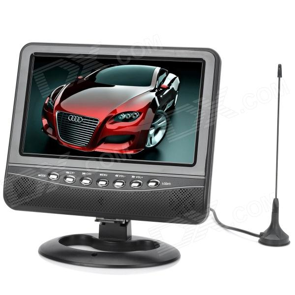 PTV702 7 TFT LCD 16:9 Portable TV w/ FM / SD / USB 2.0 / AV-in / AV-out - Black + Silver (EU Plug) ptv902 portable 9 lcd tv player w fm sd card usb car charger black silver 640 x 234