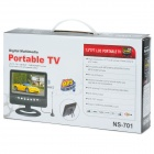 "NS-701 7"" 16:9 Portable TV w/ FM, SD, USB - Black + Silver (EU Plug)"