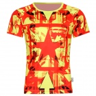 XINGLONG Red Star Pattern Short Sleeve T Shirt for Men - Red + Yellow (Size XL)