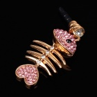 Fishbone Style3.5mm Anti-dust Plug for Iphone 4S + More - Pink+Golden