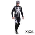17K Skeleton Pattern Long Sleeve Sports Cycling Suit Jersey + Pants Set - White + Black (Size XXXL)