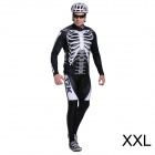 17K Skeleton Pattern Long Sleeve Sports Cycling Suit Jersey + Pants Set - White + Black (Size XXL)