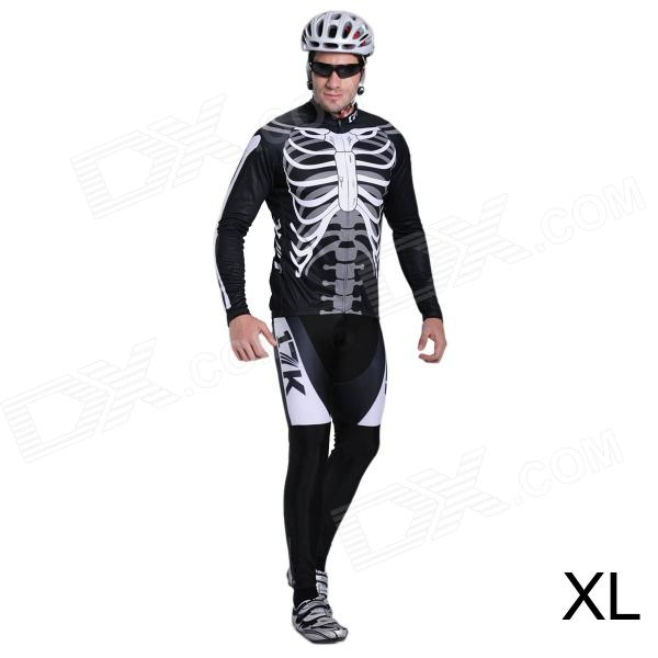 17K Skeleton Pattern Long Sleeve Sports Cycling Suit Jersey + Pants Set - White + Black (Size XL) mens sports pants bloomers black size xl
