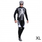 17K Skeleton Pattern Long Sleeve Sports Cycling Suit Jersey + Pants Set - White + Black (Size XL)