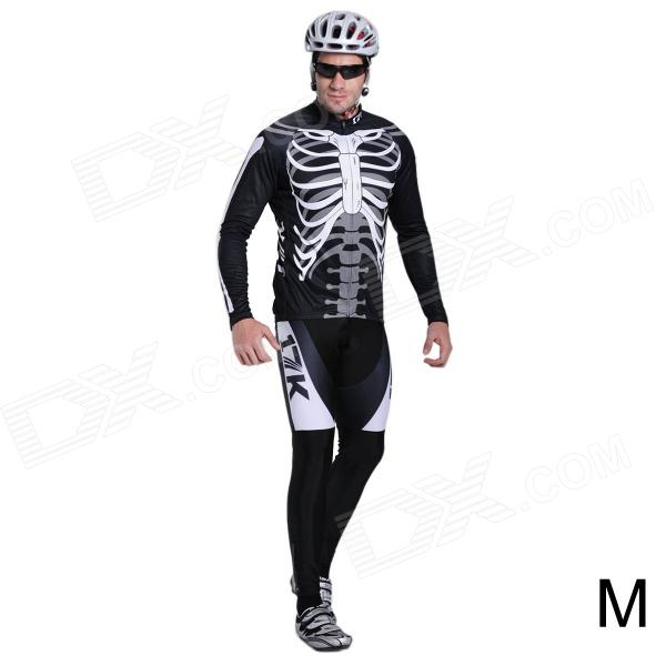 17K Skeleton Pattern Long Sleeve Sports Cycling Suit Jersey + Pants Set - White + Black (Size M)