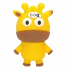 Cartoon Cow Style USB 2.0 Flash Drive - Yellow + Brown (8GB)