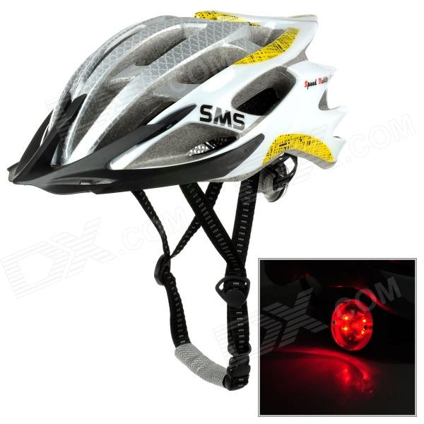 SMS S-124 Outdoor Bike Bicycle Cycling PE Helmet w/ LED Flashlight - White + Gray