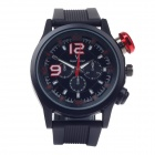 SuperSpeed V0144 Men's Stainless Steel Quartz Analog Wrist Watch - Black + Red (1 x LR626)