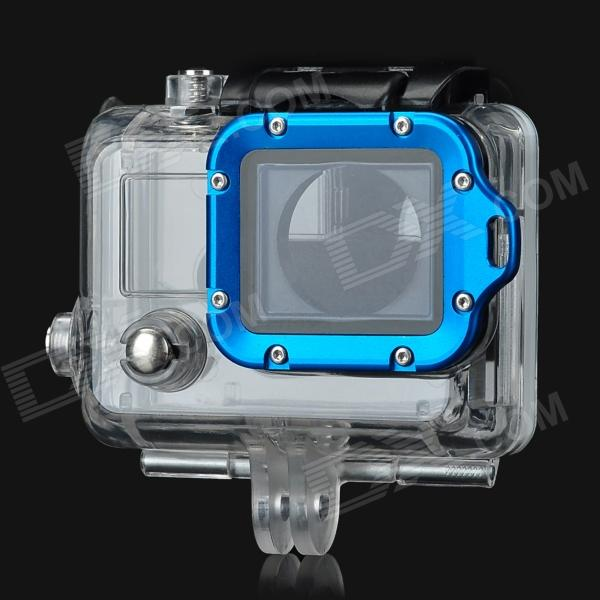 где купить  Miniisw Professional Gopro Hero 3+/3 Side Open Case w/ Strap Ring - Transparent + Blue + Black  дешево