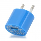 ABS USB EU 2-Round-pin Plug Power Charger Adapter for Iphone 5 - Blue