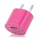 ABS USB EU 2-Round-pin Plug Power Charger Adapter for Iphone 5 - Deep Pink