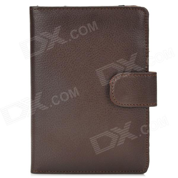 Lychee Pattern Protective PU Leather Case for Amazon Kindle 4 - Brown