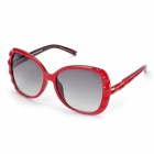 LANGTEMENG C56321 452-209 Women's Stylish UV400 Resin Lens Sun Glasses - Red + Gray