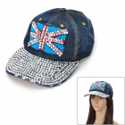 Fashion Flag of United Kingdom Pattern Denim + Rivets Rhinestone Cap - Denim Blue + Silver