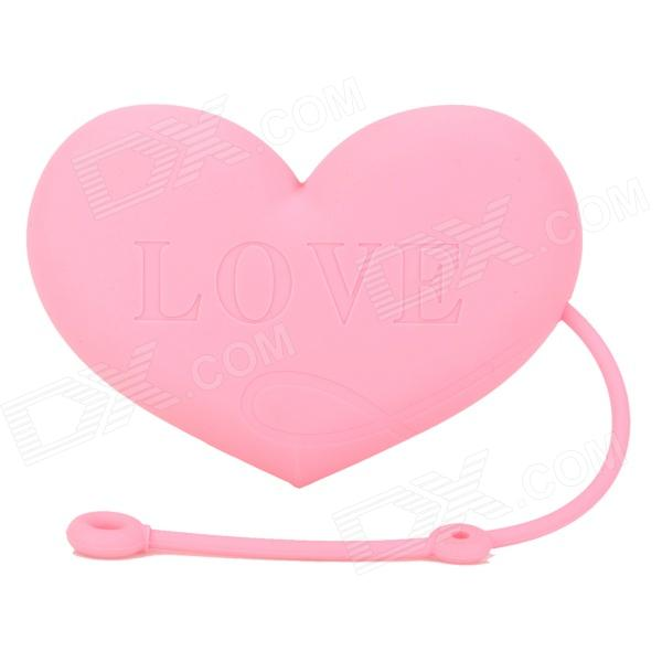 Soft Silicone Love Heart Shape Storage Bag for Keys / Cards / Coins - Pink