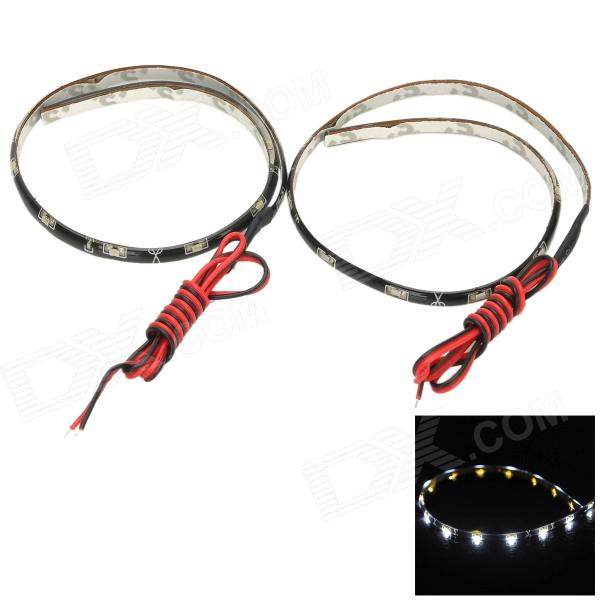 3W 240lm 6000K 15-335 SMD LED White Light Car Lamp Strips - Black (2PCS / 30cm)
